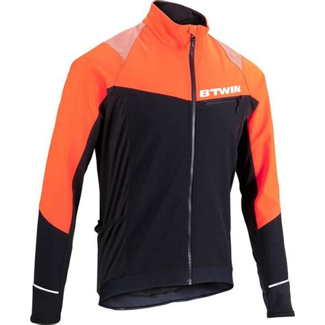 orange cycling jacket 500 warm cycling jacket black orange decathlon