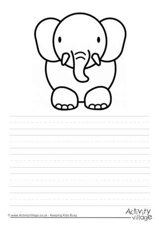 elephant writing paper animal story paper