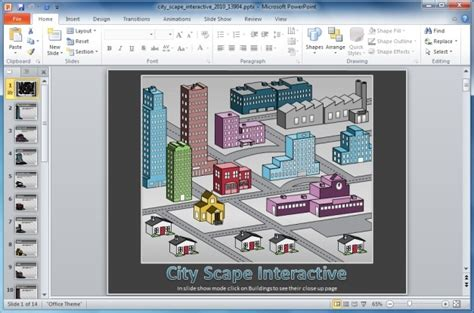 powerpoint interactive templates interactive city powerpoint template