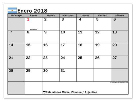 Calendario 2018 Argentina Para Imprimir Calendarios Para Imprimir Enero 2018 Argentina