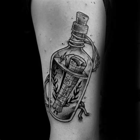 message in a bottle tattoo 40 message in a bottle designs for manly ink