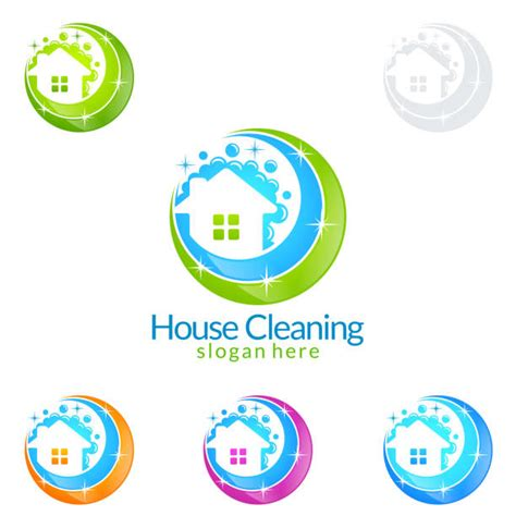 house cleaning logo illustrations royalty  vector