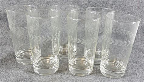Tumbler Cocktail Glass Lot Of 6 Etched Glass Tumbler Cocktail Glasses
