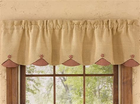 how to make lined burlap curtains red burlap check lined scalloped curtain valance 58 quot x