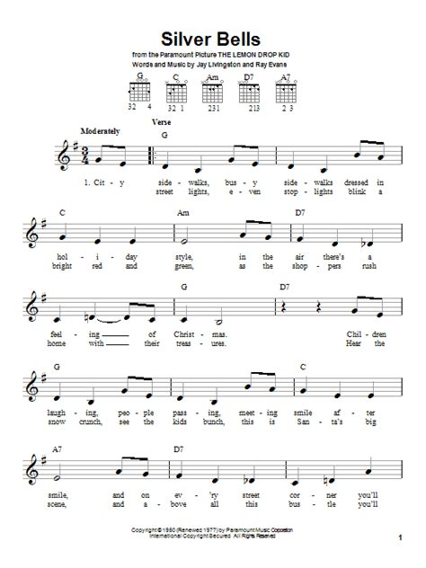 printable lyrics for silver bells silver bells sheet music by jay livingston easy guitar