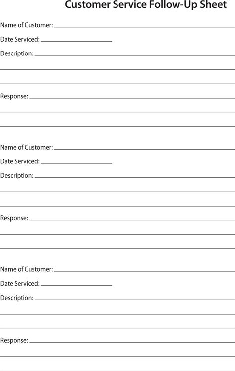 Customer Call Sheet Template Aiyin Template Source Follow Up Template