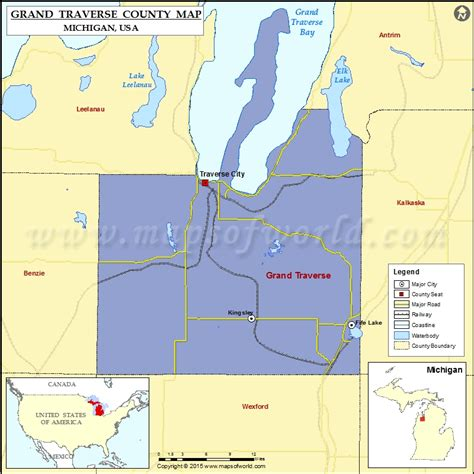 usa grand map grand traverse county map michigan
