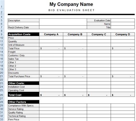 bid template procurement templates tools