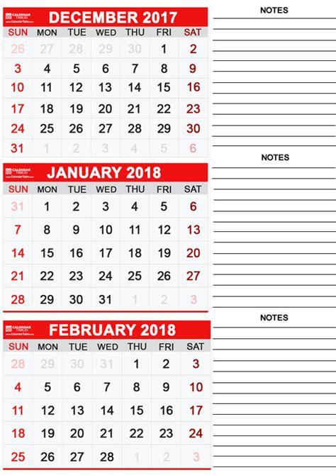 Calendar December 2017 January 2018 February 2018 Printable January 2018 Calendar Calendar Table Calendar