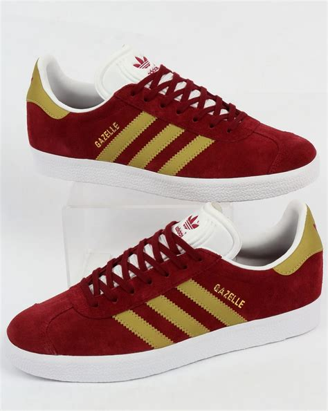 adidas gazelle trainers burgundy gold originals shoes mens sneakers