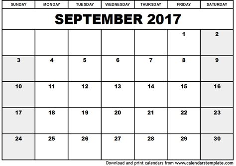 Calendar Printable September 2017 September 2017 Calendar Template