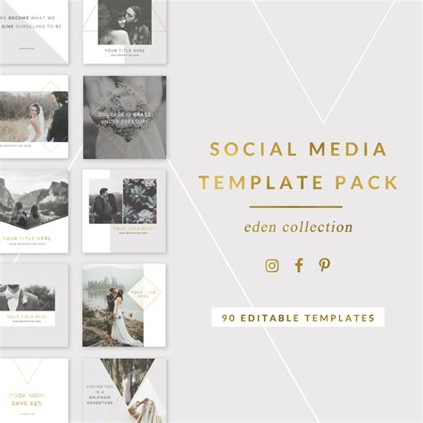 social media templates for photographers editable