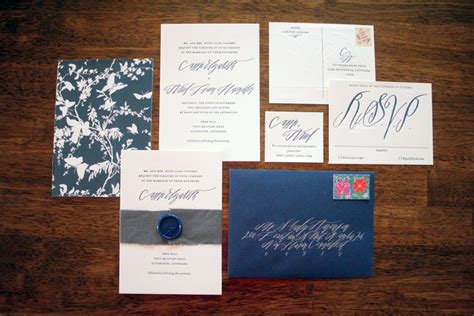 navy white and silver wedding invitations ariel s navy and white calligraphy letterpress