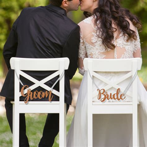 bride and groom wedding engraved wooden bride and groom wedding chair signs