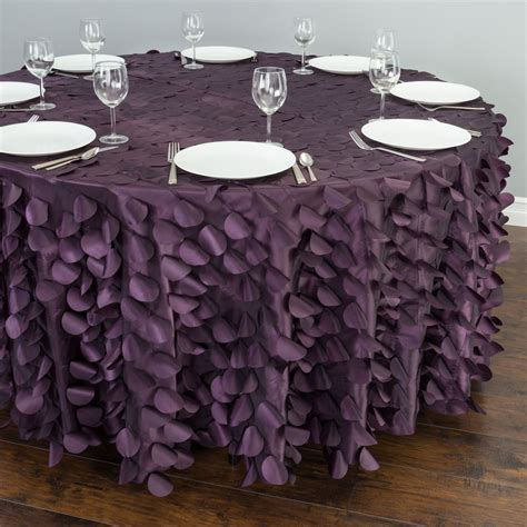 118 in. Round Petal Tablecloth Eggplant