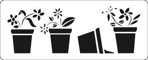 unusual lovely flower pot stencil for any window sill to