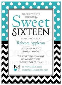 sweet 16 invitations polka dot turquoise amp chevron