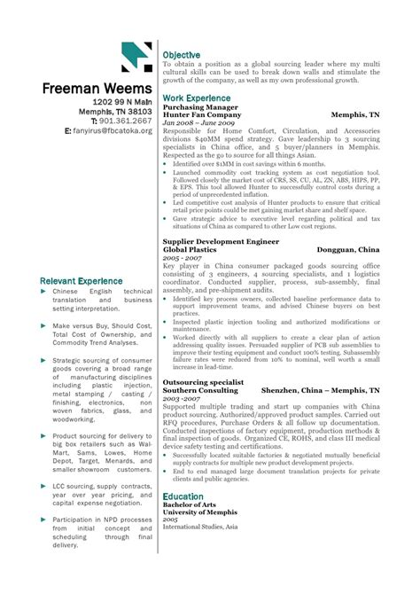 Sourcing Executive Sle Resume by Global Sourcing Resume