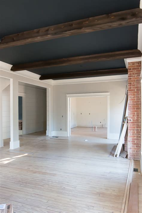 Premade Coffered Ceiling by Shiplap Ceiling Beams Black Ceiling Gray Walls Black