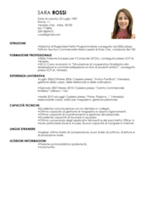 Formato Europeo Curriculum Vitae Esempio Curriculum Vitae Europeo Esempio Compilato Commessa
