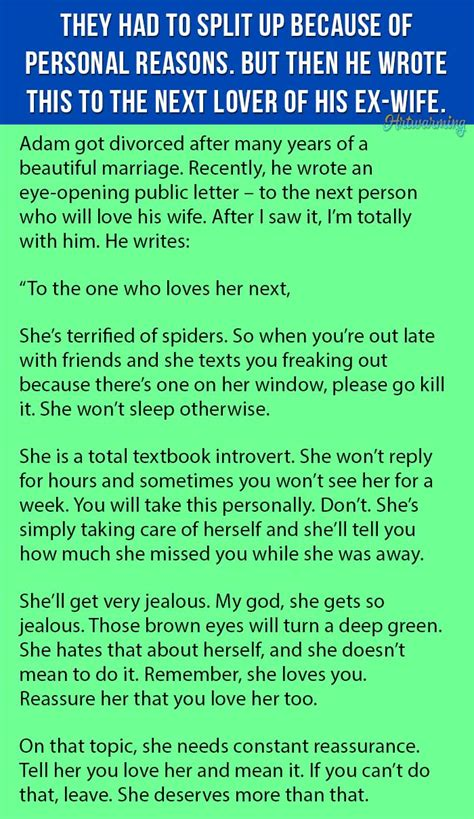 Divorce Letter To My Husband Ex Husband Writes The Best Letter To The Next Who Will His Ex This Is