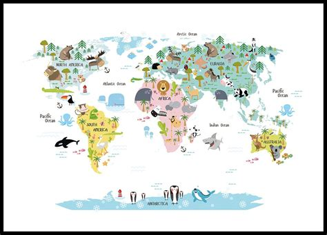 printable world poster kids poster with world map with animals nice posters for