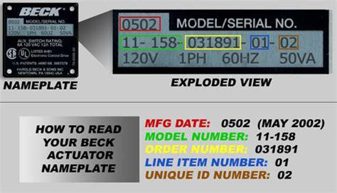 serial number lookup beck electric actuators