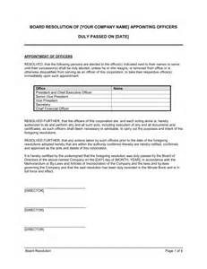 Hoa Certification Letter board resolution appointing officers template amp sample form