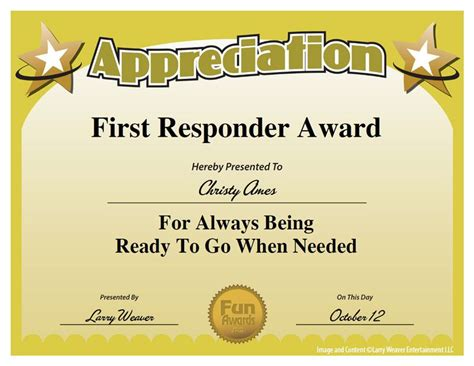 First Responder Award Work Pinterest Appreciation Employee Appreciation And Employee Employee Award Template
