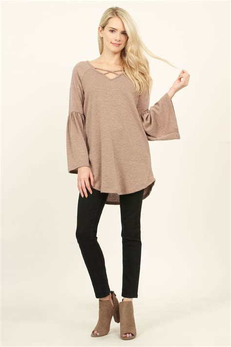 K01 Sweater Cross 2colour groopdealz criss cross sweater tunic 2 colors