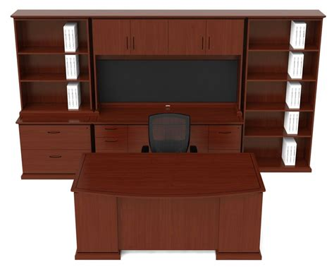 Cherryman Emerald Series Bow Front Desk Suite Free Cherryman Office Furniture