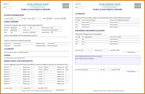 health history form template 15 family health history form plantemplate info
