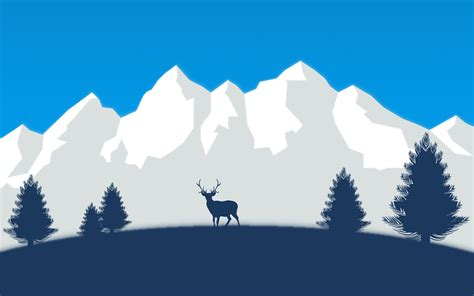 snow deer mountains trees vector wallpapers hd