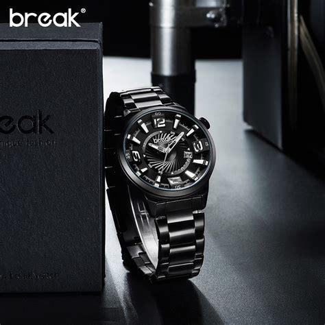 break jam tangan analog luminous stainless steel pria