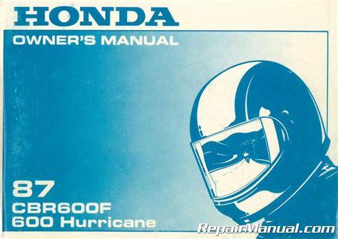 1987 Honda Cbr600f Hurricane Motorcycle Owners Manual