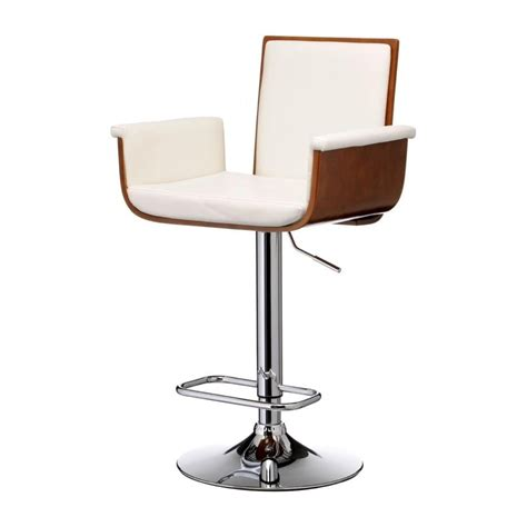 wood and leather bar stools buy walnut wood and white faux leather tall bar stool