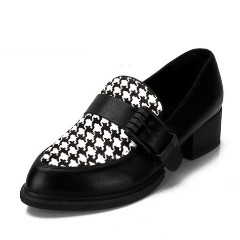 pattern black shoes houndstooth pattern black white checkers loafers flats