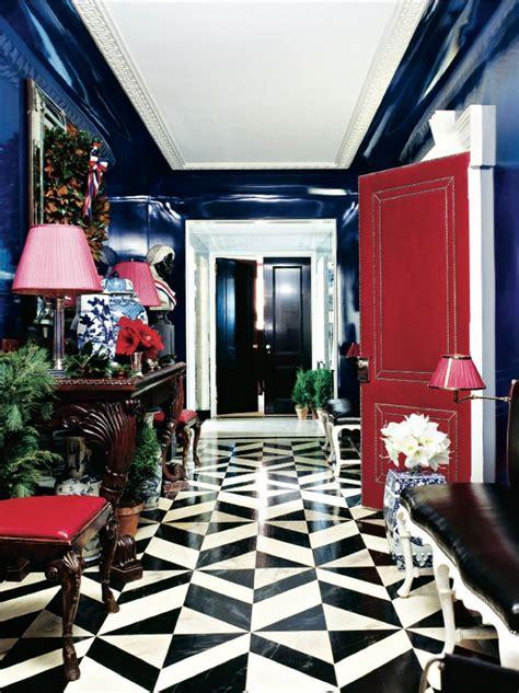 Redd Flooring by Eclectic Foyer Glossy Navy Walls Black White Floor