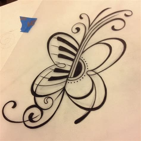 butterfly music note tattoo designs guitar and butterfly tattoos butterfly