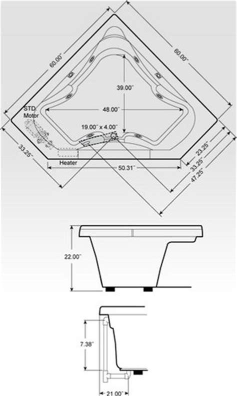 corner bathtub dimensions standard corner jacuzzi tubs dimensions