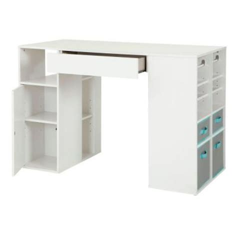 counter height craft table with storage south shore furniture crea laminated particleboard counter