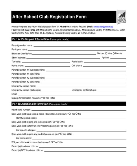 Sle School Registration Form 10 Free Documents In Pdf After School Club Registration Form Template