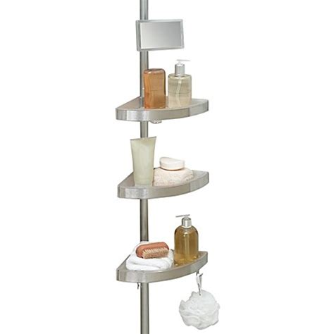 Telescopic Bathroom Shelves Buy Telescoping Corner Shower Caddy With Plastic Shelves From Bed Bath Beyond