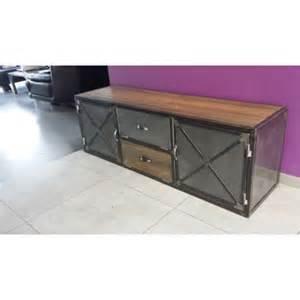 meuble tv indutriel acier et bois vintage m d 233 co industriel