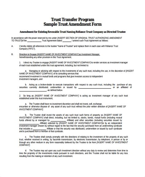 trust agreement template sle trust amendment form 7 free documents