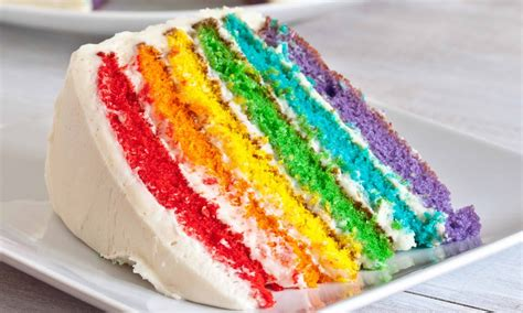 wallpaper colorful food rainbow cake slice on serving plate colorful food photo