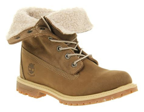 Timberland Valeria Brown lyst timberland authentic shearling taupe nubuck in brown