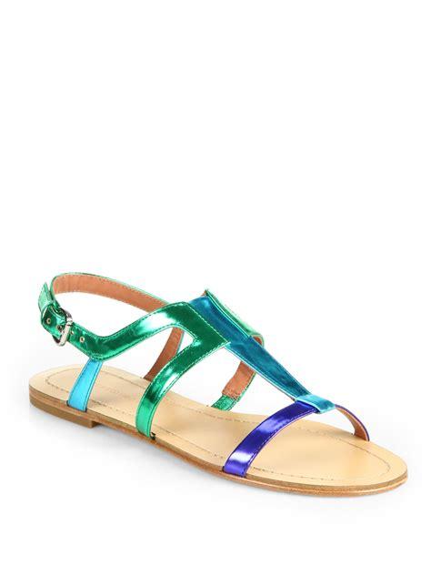 sigerson morrison sandals sigerson morrison kimora metallic strappy flat sandals in