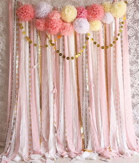 White Curtains With Pom Poms Decorating Pink White Lace Pom Poms Flowers Sparkle Fabric Backdrop Wedding Ceremony Stage Birthday Baby