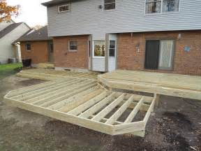 treated lumber patio deck w aluminum railing horizontal